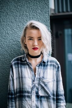 flannel shirt outfit, choker outfit, grey hair, red lipstick, platinum blonde, platinum blonde hair, outfit of the day