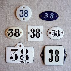 vintage enamel number 38 from Holland – available at AtticAntics on Etsy