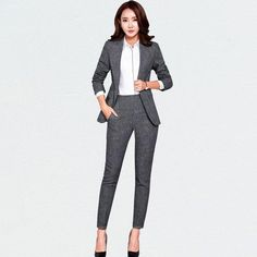 Women's Pant and Blazer Suit Simple Long Slim for Business – omymarts Long Jackets For Women, Blazers For Women, Pants For Women, Women Blazer, Outfit Essentials, Classy Outfits, Pretty Outfits, Pretty Clothes, Work Outfits