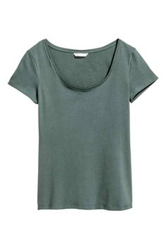 Tricot top - Donkergroen - DAMES | H&M NL