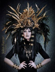 MADE TO ORDER Sci- Fi feather mohawk Futuristic gaga Wing Black and Gold Cleopatra Egyptian Fantasy headdress headpeice wig. $579.00, via Etsy.