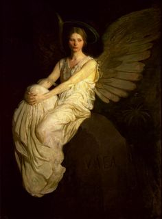 petitpoulailler:  ca 1900 Abbott Handerson Thayer (American, 1849-1921) ~ Winged Figure Seated On A Rock