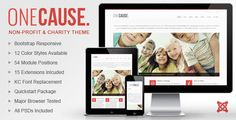 OneCause - Charity & Non-Profit Joomla Theme This template comes with two quickstart installation packages for your convenience. These include the standard Joomla installation and an Akeeba Backup version as well. It has been tested on all major browsers such as Chrome, Firefox, Safari, Opera, and Internet Explorer 8-10. OneCause includes all PSDs, files and a comprehensive help documentation.