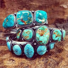 soliloquyjewelry:Navajo cuffs with high grade, natural American turquoise (photo from Perry Null Trading Company). // Speaking of high grade turquoise, I've noticed some misinformation about this wonderful stone floating around, which has inspired me to write a blog post addressing and explaining certain common misunderstandings about turquoise and other various stones. It will be posted within the next few days. And now, back to writing listings for tonight's shop update at 8PM EST!
