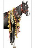 Black Horse with Bells Christmas Towel