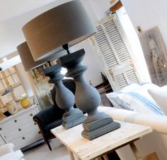 Table lamps with linen shades From Anton and K, Winchcombe, as found in Yew Tree Barn.