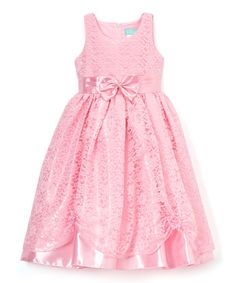 Pink Floral Bow-Accent A-Line Dress - Infant Toddler & Girls