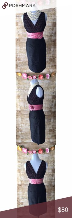 """Black/Pink Kay Unger Silk Cocktail Dress Absolutely gorgeous, black Kay Unger sleek & fitted cocktail dress with attached pink belt detail with fabric flower and pink underlay to beautiful lace top. Dress features V front & back, hidden back zip, & lining. In excellent condition. Material does not have stretch. Bodice underlay, skirt and belt are 100% silk. Lace overlay is 100% cotton. Lining: 100% polyester. Flat measurements: bust 17"""", waist 14"""", length 30"""". Kay Unger Dresses"""