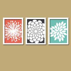 Coral Navy Teal Flower Burst Daisies Petals Artwork by trmDesign, $30.00