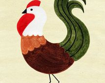COQ Vintage Retro Art Illustration Print, poulet, poule: 4 x 6, 5 x 7
