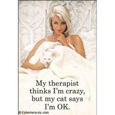 My therapist thinks I'm crazy, but my cat says I'm OK.