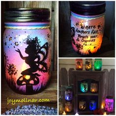 Wild Fairy Lantern - Fairy in a Jar HANDPAINTED w/ LED Light by TheJoyZone on Etsy