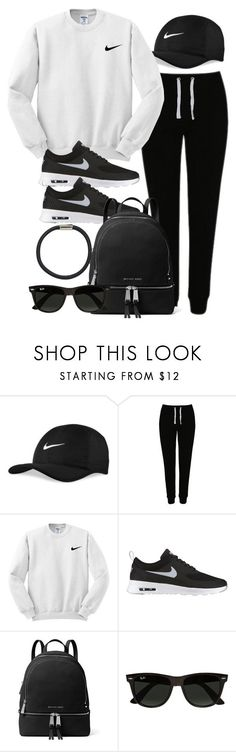 """Sin título #12072"" by vany-alvarado ❤ liked on Polyvore featuring NIKE, George, MICHAEL Michael Kors, Ray-Ban and Hershesons"