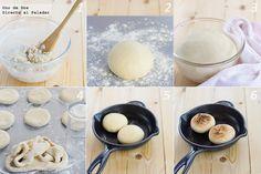 Receta de english muffins paso a paso: 250 gr de harina de trigo normal, 5 gr de sal, 5 gr de levadura fresca de panadero, 1/2 cucharadita de azúcar, 30 gr de mantequilla, 75 ml de leche entera, 75 ml de agua, un poco de aceite para engrasar.