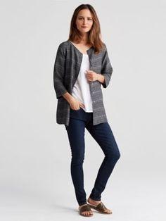 Round Neck 3/4-Sleeve Boxy Shirt in Coastline Organic Linen-S7COJ-T4120
