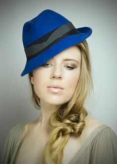Beautiful blue Trilby Hats