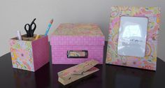 🍎Teacher Appreciation Gift Desk Set Memory Box Pencil Holder Jumbo Paper Clip  #Handmade