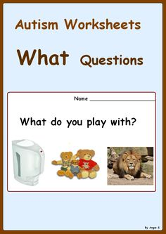 "What Questions- Autism Worksheets- a great activity to target basic ""what"" questions, good for students with autism and special needs. #Autism For more resources follow https://www.pinterest.com/angelajuvic/autism-special-education-resources-angie-s-tpt-sto/"