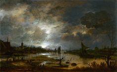 Aert van der Neer - A River near a Town, by Moonlight [c.1645] | by Gandalf's Gallery