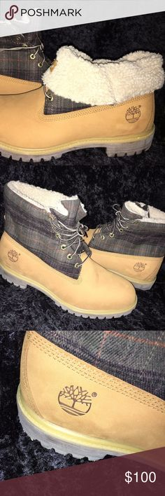 MEN'S WHEAT/PLAID TIMBERLAND FLEECE ROLL DOWN TOP BRAND NEW AUTHENTIC MEN'S TIMBERLAND WHEAT/PLAID (TEDDY FLEECE) ROLL TOP BOOTS.  SIZE 12M.  WILL SHIP WITHOUT BOX.    THESE BOOTS ARE SO VERSATILE IN SYTLE YOU CAN WEAR UP ON DOWN.  NICE LOOK!!  ALL SALES ARE FINAL SO PLEASE VIEW PICS AND ASK ANY QUESTIONS PRIOR TO PURCHASE.  THANKS FOR VIEWING MY CLOSET....GOOD LUCK:-) Timberland Shoes Boots