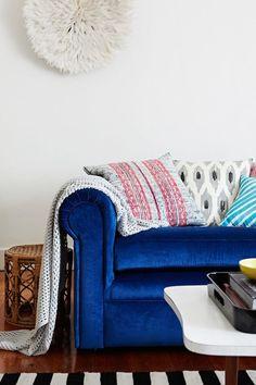 Electric or cobalt blue velvet couch sofa