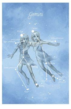 Astronomy art Gemini constellation stars by LaPetiteMascarade Gemini Art, Zodiac Signs Gemini, Zodiac Art, Astrology Zodiac, Constellations, Gemini Constellation, Space And Astronomy, Astronomy Quotes, Astronomy Tattoo