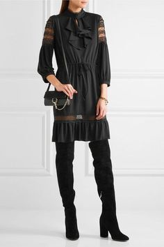 Black crepe de chine and lace Slips on 100% polyester Dry clean
