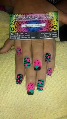 Uñas Cute Nail Art, Cute Nails, Pretty Nails, Fancy Nails, Diy Nails, Valentine's Day Nail Designs, Valentine Nail Art, Bright Nails, Manicure E Pedicure