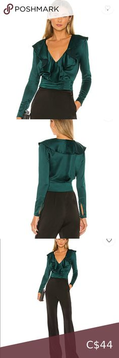 NWT NBD Corona Wrap Top Blouse NWT. Says xs but fits like an xxs. Emerald. Bought off Revolve. Would be stunning as a fall/winter look! Add some high waisted black pants and cute heels and you're set! NBD Tops Blouses Winter Looks, Fall Winter, Denim Cap, Pleated Tennis Skirt, Pinstripe Pants, Cute Heels, Wide Leg Jeans, Black Pants, Corona