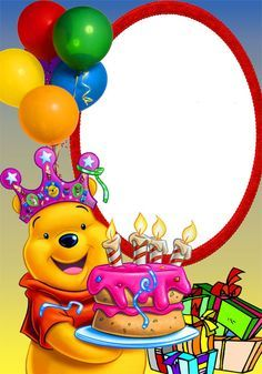 Add joyful Bmmday frame 'Winnie the Pooh with balloons' to the taken photographs of celebrating. Undoubtedly you enjoyed smashing Birthday! Happy Birthday Wishes Cake, Happy Birthday Frame, Birthday Photo Frame, Birthday Frames, Happy Birthday Pictures, Happy Birthday Messages, Happy Birthday Greetings, Birthday Clipart, Birthday Invitations