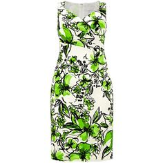 Windsmoor Printed Floral Dress, Cream/Green ($110) ❤ liked on Polyvore featuring dresses, women plus size dresses, white maxi dress, white midi dress, white dress and green dress