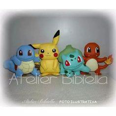 Pokemon Da Bibiella - Kit C/ 4 Personagens 20cm Em Feltro - R$ 176,40