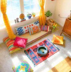 Living Room Decor Indian Boho Chic 26 Ideas #roomdecor #livingroom Indian Room Decor, Indian Bedroom, Ethnic Home Decor, Indian Living Rooms, Boho Decor, Boho Chic Living Room, Living Room Decor, Living Spaces, Bohemian Living