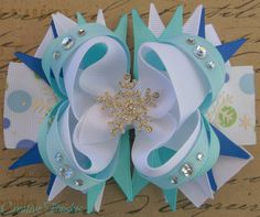 Frozen Snowflake Hair Bow by CreativeFinishesBows on Etsy