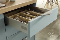 Perfect for storing all types of dinnerware - available in 450 - Open Plan Kitchen, New Kitchen, Kitchen Storage Solutions, Kitchen Essentials, Kitchen Colors, Storage Drawers, Space Saving, Dinnerware, Living Spaces