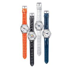 """Women's NFL Watch. Avon. It's game time! 9"""" L faux-crocodile strap. Available in Cowboys, Steelers, Patriots or Broncos. Regularly $29.99. NEW & NOW! FREE shipping with any $40 online Avon purchase. #CJTeam #Avon #Style #Sale #Jewelry #Fashion #Watch #NFL #WomensJewelry #ForHer #Womens #Gift #Christmas #StockingStuffer Shop Avon jewelry online @ www.thecjteam.com"""