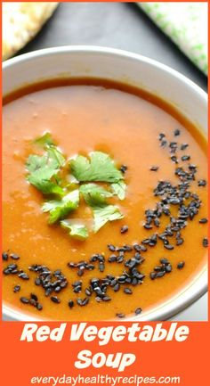 This creamy, delicious red vegetable soup recipe is incredibly nutritious, gluten free, vegan and ready in only about 30 minutes. Vegan Vegetable Soup, Vegetarian Soup, Vegan Soup, Healthy Soup, Vegetarian Recipes, World's Best Food, Good Food, Red Vegetables, Low Carb Recipes