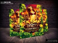 Tiki Bar Party Flyer Template PSD by Industrykidz