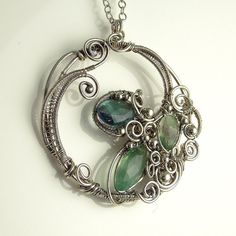 Rainbow Fluorite and Silver Sculpted by SamBraundJewellery on Etsy