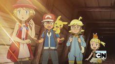 Serena, Ash Ketchum, Pikachu, Clemont, Dedenne & Bonnie