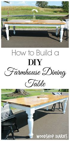 DIY Farmhouse Dining Table --Free Plans and Tutorial - Free building plans! How to build a DIY Farmhouse Dining Table with gorgeous distressed white turned legs and Minwax Early American Stained top Build A Table, Farmhouse Dining Room Table, Diy Dining Table, Farmhouse Style Kitchen, Modern Farmhouse Kitchens, Farmhouse Furniture, Rustic Furniture, Farmhouse Decor, White Farmhouse Table