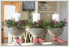 easy Christmas / holiday country décor with greenery and candles. would make a great centerpiece for a harvest table