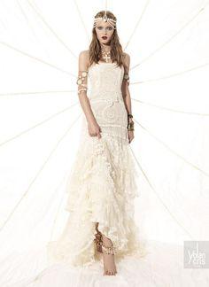 vestido de noiva hippie de algodao natural com desenhos modernos yolancris ethinc chic 2015, indicado para casamento na praia