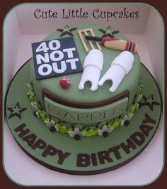 So delighted to be asked to make this design again, especially as it was for the husband of a friend I've known since catering college! A Chocolate cake decorated with fondant cricket pads, ball, bat & wickets! Cricket Birthday Cake, Cricket Theme Cake, 90th Birthday Cakes, Birthday Parties, Dad Cake, Cake Kids, 21st Cake, Cake Decorating With Fondant, Sport Cakes