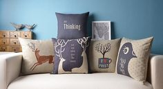 Set of 5 Nordic Deer Print Pillow Covers Scandanavian Throw Pillows Cushion Covers Linen Cotton Covers Nursery Pillows Kids Pillow Animal