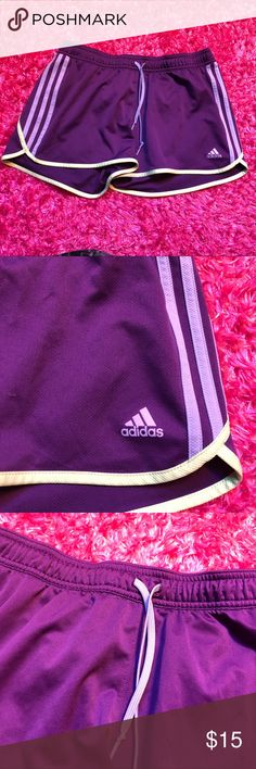 🏋️‍♀️Adidas Climalite Workout Shorts Adidas climalite Workout Shorts. Perfect condition. Size L Dark purple with lime green edges. ::041 adidas Pants Track Pants & Joggers