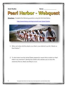 This 6 page document contains a webquest and teachers key related to the attack on Pearl Harbor during World War Two (WWII). It contains 10 questions from the history.com website. Your students will learn about the basic history of the Japanese attack on Pearl Harbor during World War Two (WWII) and appreciate the importance of the attack in terms of its overall implications for World War Two (WWII)!