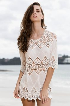 Appliqued Openwork White Cover-Up WHITE: Cover Ups | ZAFUL