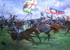 Artist's impression of the slaying of Sir William Brandon of Soham (Henry Tudor's Standard Bearer, and father of Charles Brandon) by Richard III at the Battle of Bosworth Field on 22nd August 1485. Painting by Graham Turner.