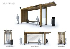 Interactive Architecture, Architecture Concept Drawings, Vintage Architecture, Architecture Details, Interior Architecture, Interior Design, Bus Stop Advertising, Bus Stop Design, Bus Shelters